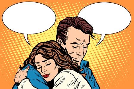 casal homem e mulher amor abraço pop art estilo retro. Ilustração em vetor retrô pessoas. Sentimentos emoções romance Ilustración de vector