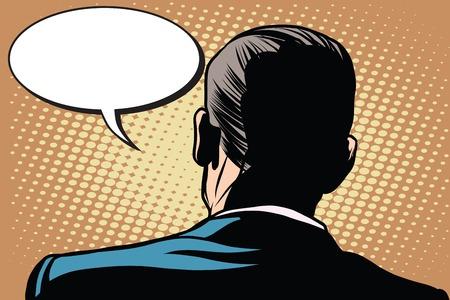 Male zurück Comic-Blase Gespräch Kommunikation Pop-Art Retro-Stil. Retro männlich. Männlich Rückansicht. Treten Sie zurück Standard-Bild - 56425644