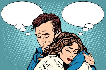 couple man and woman love hug pop art retro style. Retro people vector illustration. Feelings emotions romance Vettoriali