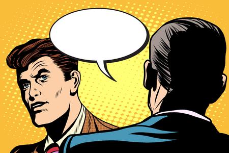 dialogo: el diálogo y las negociaciones pop estilo retro arte. La diplomacia y la política. La conversación entre los dos hombres