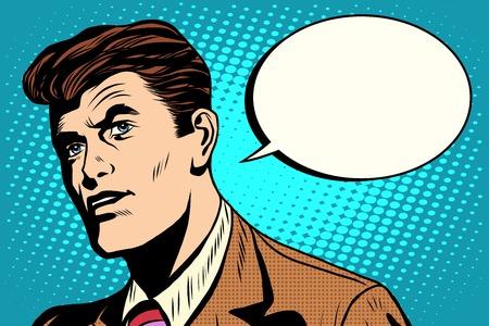 dialogo: hombre pide estilo cómico retro del arte pop retro burbujas. Diálogo del asunto. vector de negocio Vectores