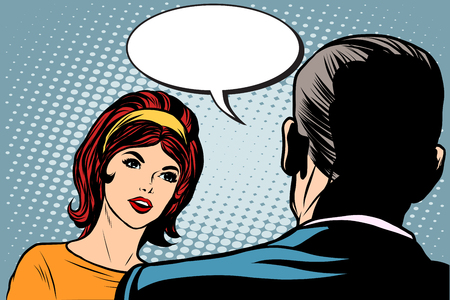 woman male: Girl and male dialogue pop art retro style. Man and woman talking retro vector