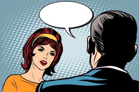 dialogo: La muchacha y el estilo del arte pop retro diálogo masculina. El hombre y la mujer que habla vector retro Vectores