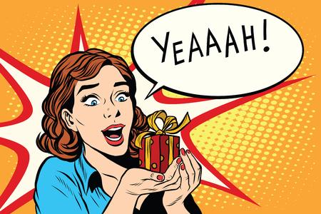 Geschenk Mädchen glücklich Hochzeit Geburtstag Pop-Art Retro-Stil. Die Emotion Reaktion der Freude. Red Geschenk-Box
