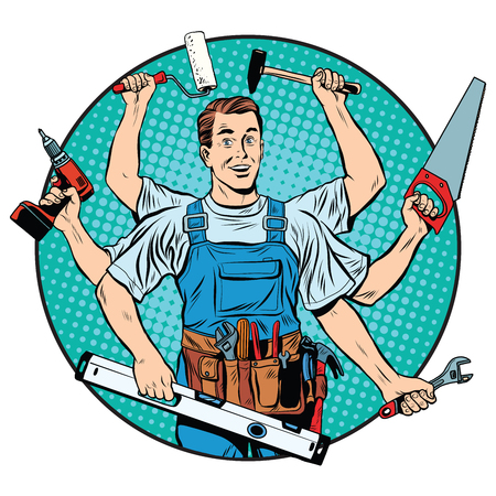 multi-armed master repair professional pop art retro style. Industry repair and construction. Man with tools in his hands. Vectores