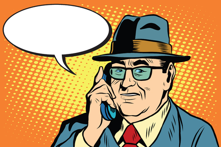 man illustration: business boss Director says on the phone pop art retro style. The head of the company businessman. Retro businessman vector