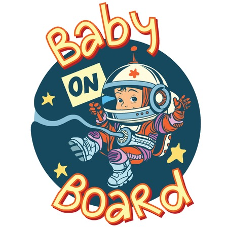 umbilical: Baby on Board sign pregnancy cosmonaut pop art retro style. Sticker for car child transport. Sign of pregnancy. Child astronaut bound by the umbilical cord to the cosmos Illustration