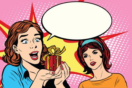 two friends: Two friends girls joy gift pop art retro style. Girlfriend. Retro woman vector. Holiday illustration