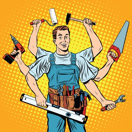 taladro: estilo de múltiples brazos de reparación maestro emergente profesional del arte retro. reparación de la industria y la construcción. Hombre con las herramientas en sus manos.