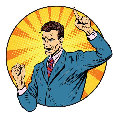 mp: Male speaker politician businessman pop art retro style. Political candidate. Business statement. Motivation and training. Business coach Illustration