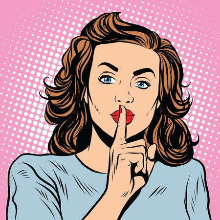 Female gesture of silence pop art retro style. Keep quiet. Please be quiet. Sign gesture