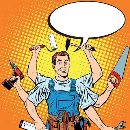 multi-armati maestro di riparazione pop professionista arte stile retrò. Industria riparazione e costruzione. Uomo con gli strumenti nelle sue mani.