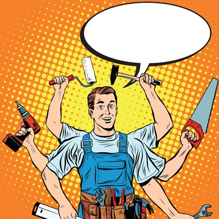 multi-armed master repair professional pop art retro style. Industry repair and construction. Man with tools in his hands. Stock Illustratie