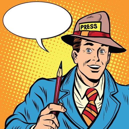 Positieve retro journalist interviews druk op media verslag pop art retro stijl. Een media-industrie. Beleid en nieuws Stock Illustratie