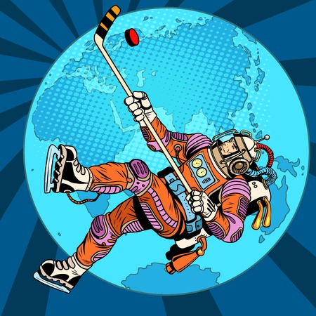 Astronaut plays hockey over planet Earth pop art retro style. Championship of the world. Wintersports. Winter games