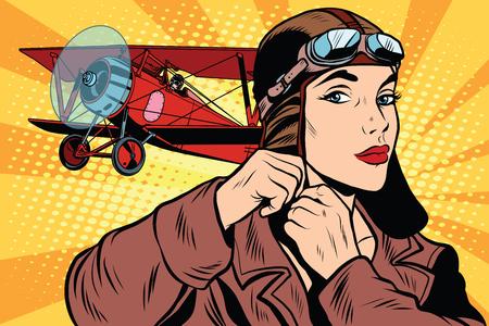 Dziewczyna retro wojskowy pilot stylu pop art retro. Lotnictwo armii. Kobieta w armii