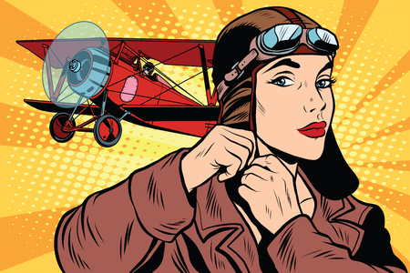 Girl retro military pilot pop art retro style. The army and air force. A woman in the army Ilustração