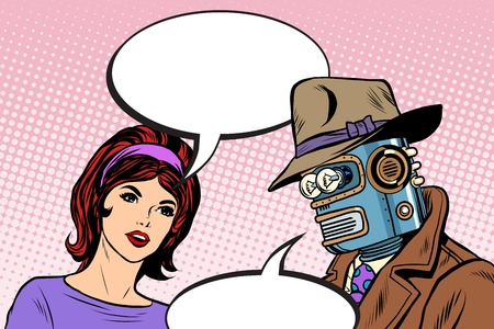 retro future: Couple man robot and beautiful woman pop art retro style. Science fiction. Artificial intelligence. The family in the future Illustration