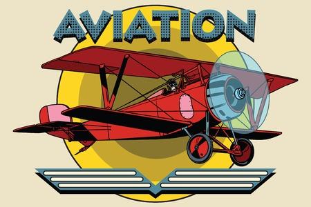 Retro two-winged plane aviation poster pop art retro style. Retro aeroplane. vintage aviation vector