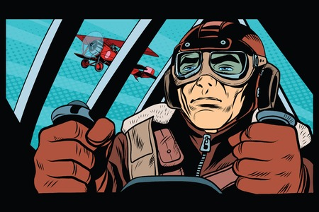 Pilot flying military aircraft pop art retro style. Retro army. Retro vector aviation 일러스트