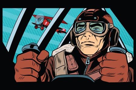 Pilot flying military aircraft pop art retro style. Retro army. Retro vector aviation Stock Illustratie