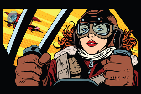 Girl retro military pilot pop art retro style. The army and air force. A woman in the army Stock Illustratie