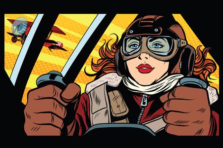 Meisje retro militair piloot pop art retro stijl. Het leger en de luchtmacht. Een vrouw in het leger