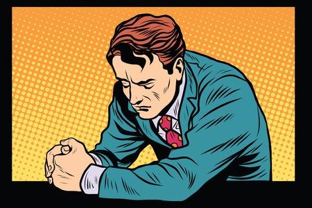 Gebed man bidden, droevig emoties pop art retro stijl. Religie en geloof. Retro man vector Vector Illustratie