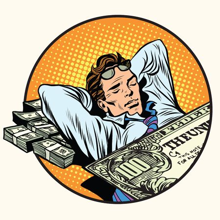 riches: Dreams of riches business concept pop art retro style. Businessman sleeping on money. Dollars business and Finance