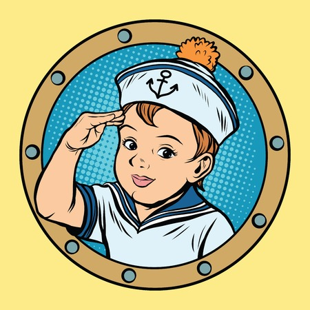 child boy: Child sailor ship kids game retro vector pop art retro style. Boy sailor retro. Captain vector