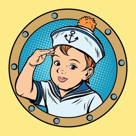 Kind zeilschip kinderen spel retro vector pop art retro stijl. Jongen zeeman retro. Captain vector Stock Illustratie