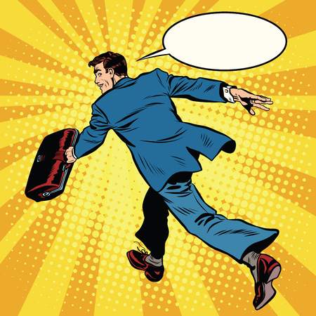 quickly: Businessman quickly comes forward pop art retro style. The leader is ahead of all. Business leader