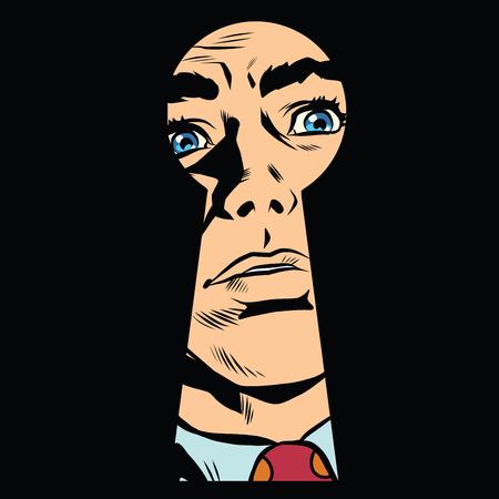 visage Homme dans le, mystère secret de pop art style rétro serrure