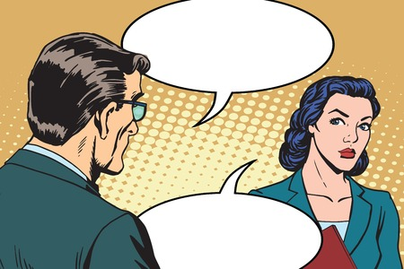 Biznesmen i businesswoman w stylu pop art retro dialog. ludzi biznesu