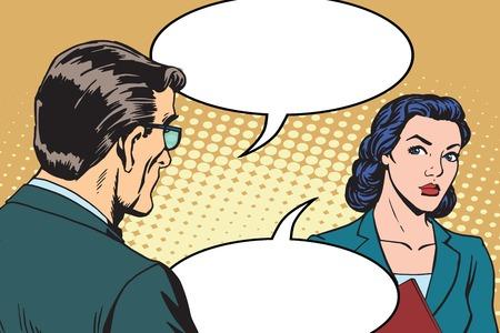 Pop-Art-Retro-Stil des Dialogs zwischen Geschäftsmann und Geschäftsfrau. Geschäftsleute