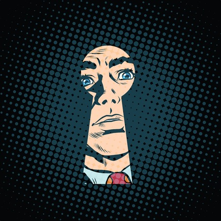 data theft: Male face in the keyhole, secret mystery pop art retro style