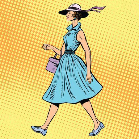 stranger: retro lady in summer dress and hat pop art retro style. Beautiful girl on a walk
