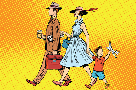 mom and pop: Family on a walk pop art retro style. father, mother and son. Family vector. Retro family happy Stock Photo