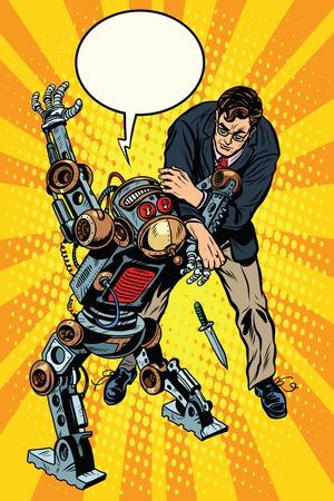 武装ロボット ポップアートのレトロなスタイルと男の戦い。危険なロボット。ナイフでロボット刑事。人工知能と進捗状況