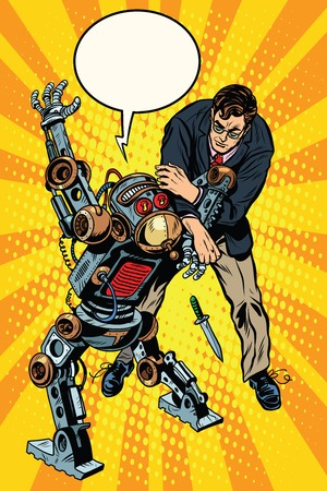 The fight of a man and armed robot pop art retro style. Dangerous robots. Robot criminal with a knife. Artificial intelligence and progress 版權商用圖片