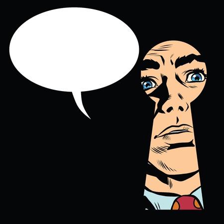 Mannelijk gezicht in het sleutelgat, geheime mystery pop art retro-stijl