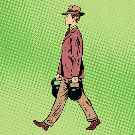 educacion fisica: Gimnasio culturista hombre de negocios con pesas estilo retro pop art. La carga y la educación física