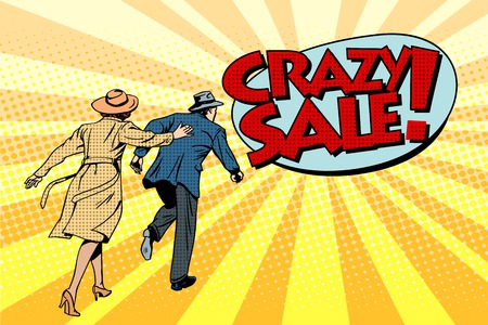 Crazy sale super discounts pop art retro style. The family runs to the store