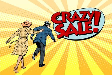 loco: venta loco súper descuentos estilo retro pop art. La familia corre a la tienda