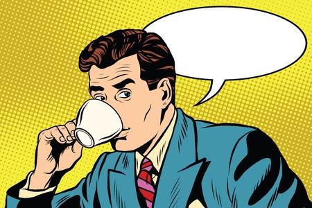커피 팝 아트 복고 스타일의 사업가와 컵. 뜨거운 음료. 차와 커피 메이커. 커피 한 잔 일러스트