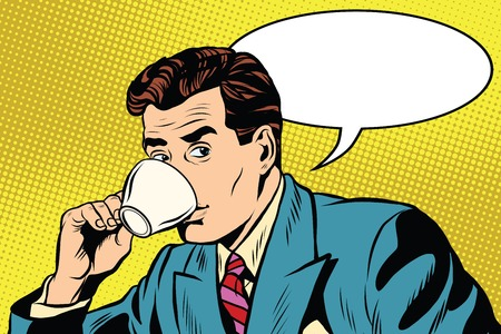 Zakenman en kopje koffie pop art retro stijl. Een warme drank. Thee- en koffiefaciliteiten. Een kop koffie