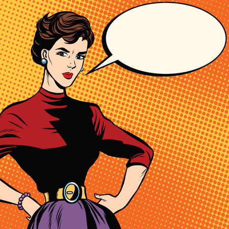 questioning: Strict beautiful retro woman pop art retro vector. Serious girl