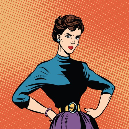 strict: Strict beautiful retro woman pop art retro vector. Serious girl