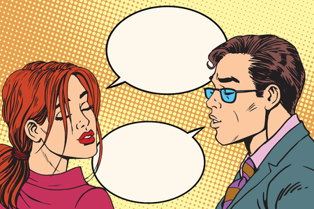 woman male: Male and female dialogue before the kiss pop art retro vector. Retro man and woman. Couple love vector Illustration