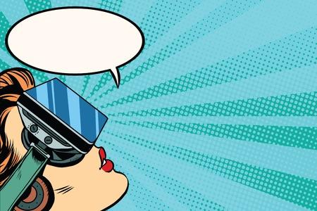 Retro Mädchen mit Brille Virtual-Reality-Pop-Art Retro-Vektor. Frau mit Virtual-Reality-Headset. Mädchen spielen oder einen Film sehen
